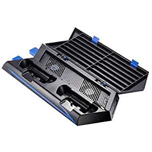 Zacro PS4 Vertical Stand Cooling Fan Dual Charging Station for Playstation 4 DualShock 4 Controllers, with 2 USB HUB Charger Ports and 14 Disc Storge Manager