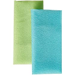 Bath Accessories Bigger Twin Skin Polishing Towels, Blue Celery