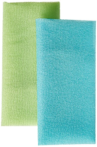 Bath Accessories Bigger Twin Skin Polishing Towels, Blue Celery by Bath Accessories