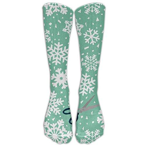 15.74in Unisex Paper Snowflakes Fashion Design High Socks Leg Warmers Football Aseball For Men Women (Coral Bells Snow Angel)