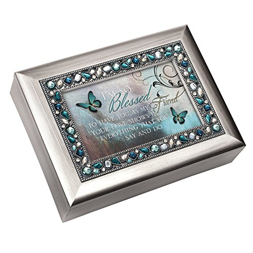 Cottage Garden I'm So Blessed to Have You Brushed Silvertone Jewelry Music Box Plays Wind Beneath My Wings ()