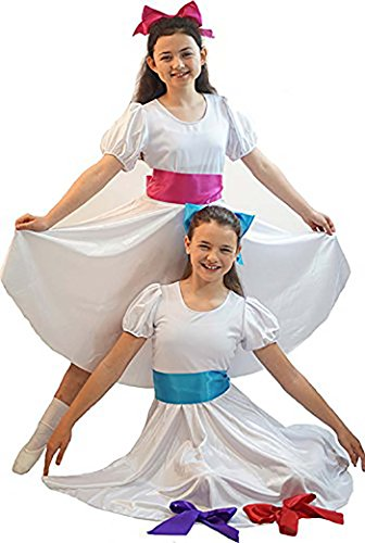 Dance Show-CHITTY Bang Bang-Sound Of Music Child'S White Satin Dress With Sash – All Ages (Age 11-13, (Von Trapp Children Costumes)