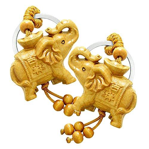 Amulet Magical Money Ingot Elephant Good Luck Protection Powers Feng Shui Magical Keychain Set ()