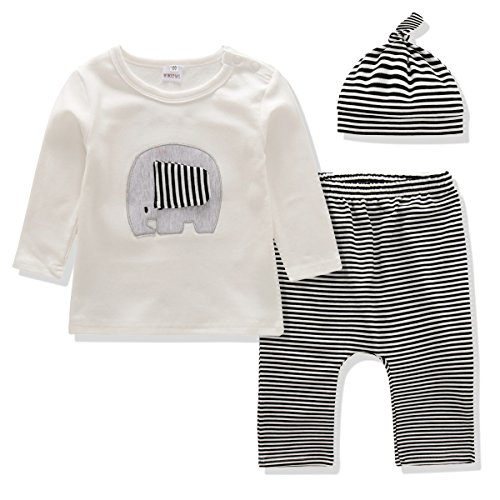 Baby Clothes Boys and Girls Clothing Set Long Sleeve Tshirt+Printing Pants+Hat 3PCS Outfit Suit (0-3 Months, White/Stripe)