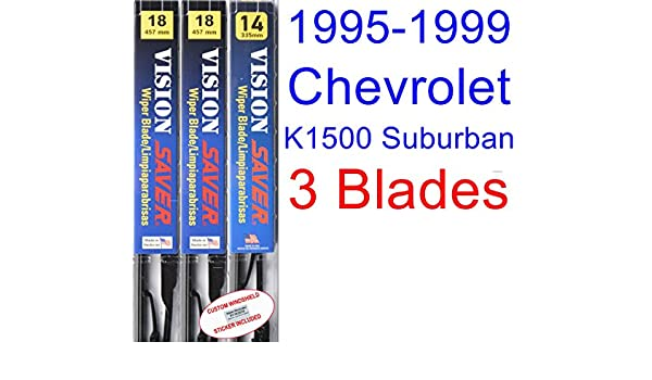 Amazon.com: 1995-1999 Chevrolet K1500 Suburban Replacement Wiper Blade Set/Kit (Set of 3 Blades) (Saver Automotive Products-Vision Saver) (1996,1997,1998): ...