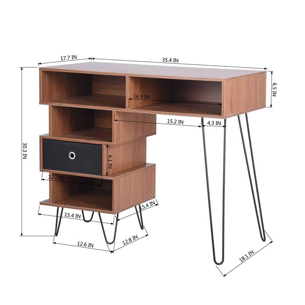 Aingoo Writing Desk, Modern Computer Desk with Bookshelf Efficient Space Storage Workstation by Lingoes (Image #4)