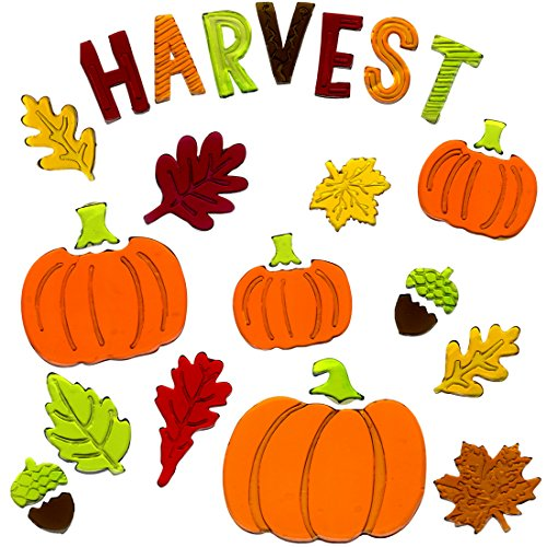 Fall Window Clings Harvest Gel Charms Stickers Decorations with Pumpkins, Harvest, Leafs, and Acorns