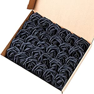 Marry Acting Artificial Flower Rose, 30pcs Real Touch Artificial Roses for DIY Bouquets Wedding Party Baby Shower Home Decor (Black) 37
