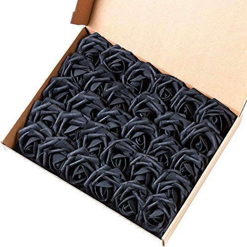 Marry Acting Artificial Flower Rose, 30pcs Real Touch Artificial Roses for DIY Bouquets Wedding Party Baby Shower Home Decor (Black) (Black Flowers Bouquet)