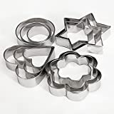 QOJA 12 pcs stainless steel flower heart biscuit cake cookied mould