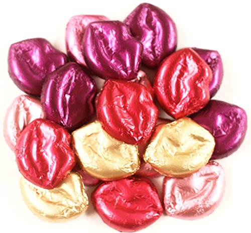 Scott's Cakes Foil Wrapped Solid Milk Chocolate Multicolor Mini Lips in a 1 Pound Clear Cello Bag