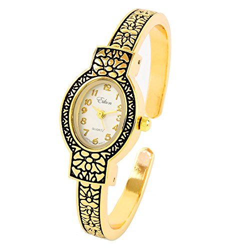 Gold Metal Western Style Decorated Oval Face Women's Bangle Cuff (Western Style Bangle Watch)