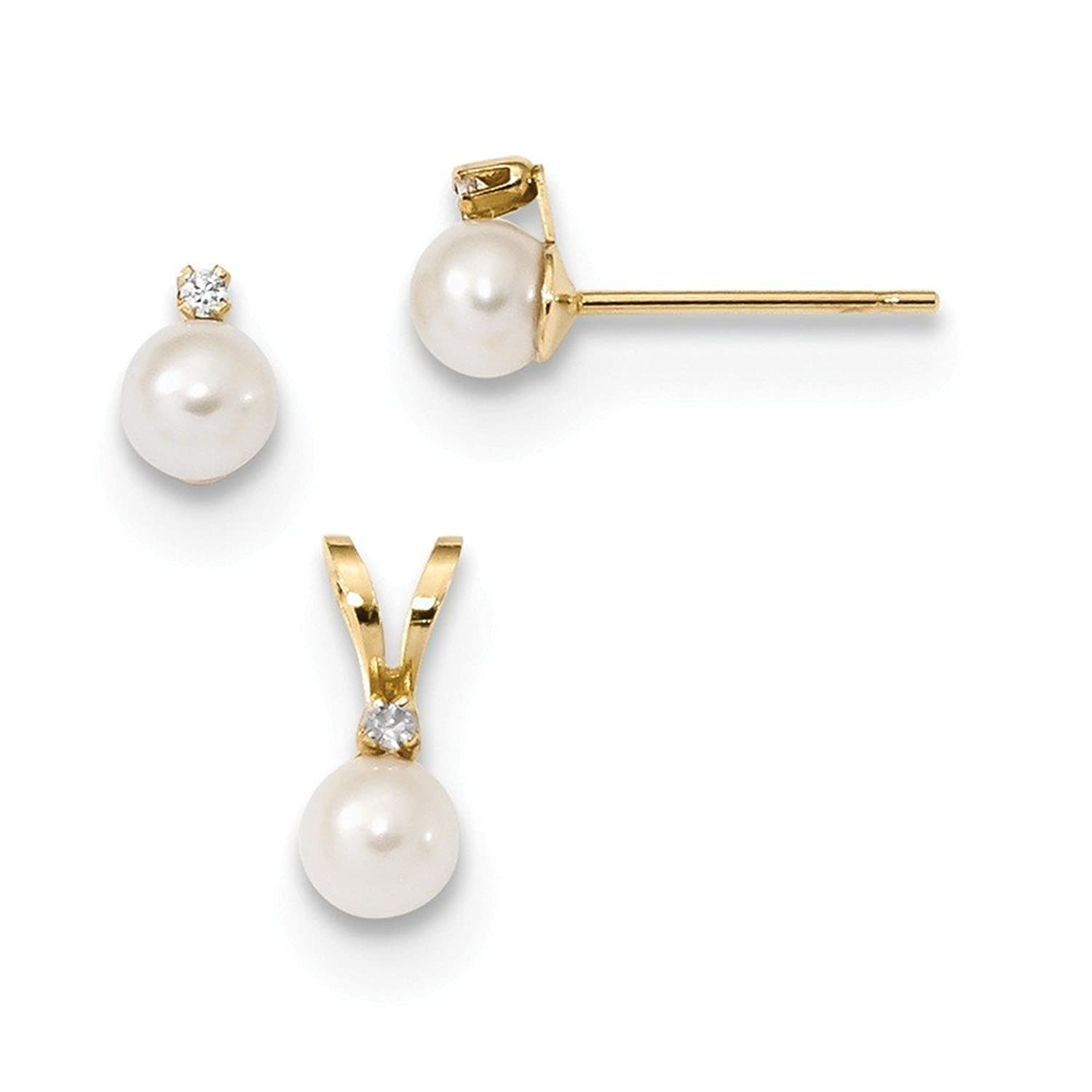 14k Children's 4-5mm White FWC Pearl CZ Pendant and Earring Set