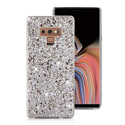 Galaxy Note 9 Case, Ranyi Full Body Glitter Sparkle Bling Shiny Rhinestone Design Slim Electroplated TPU Bumper Shock Absorbing Protective Case Cover for Samsung Galaxy Note 9 (2018), Silver