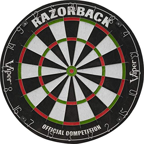 Viper Razorback Official Competition Bristle Steel Tip Dartboard Set with Staple-Free Razor Thin Metal Spider Wire for Increased Scoring, Reduced Bounce Outs; Self-Healing Premium-Grade Sisal Board (Best Dart Board For The Money)