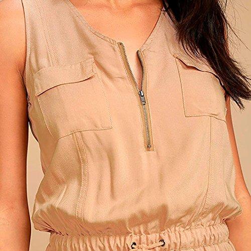 Femmes Manches Taille Body Pure Pantalon V Combinaisons Gilet Sans Combinaison Assouplissement D'été Couleur Jumpsuit Adeshop Unique Zipper Col Hauts Kaki Parti E0xzwn1q