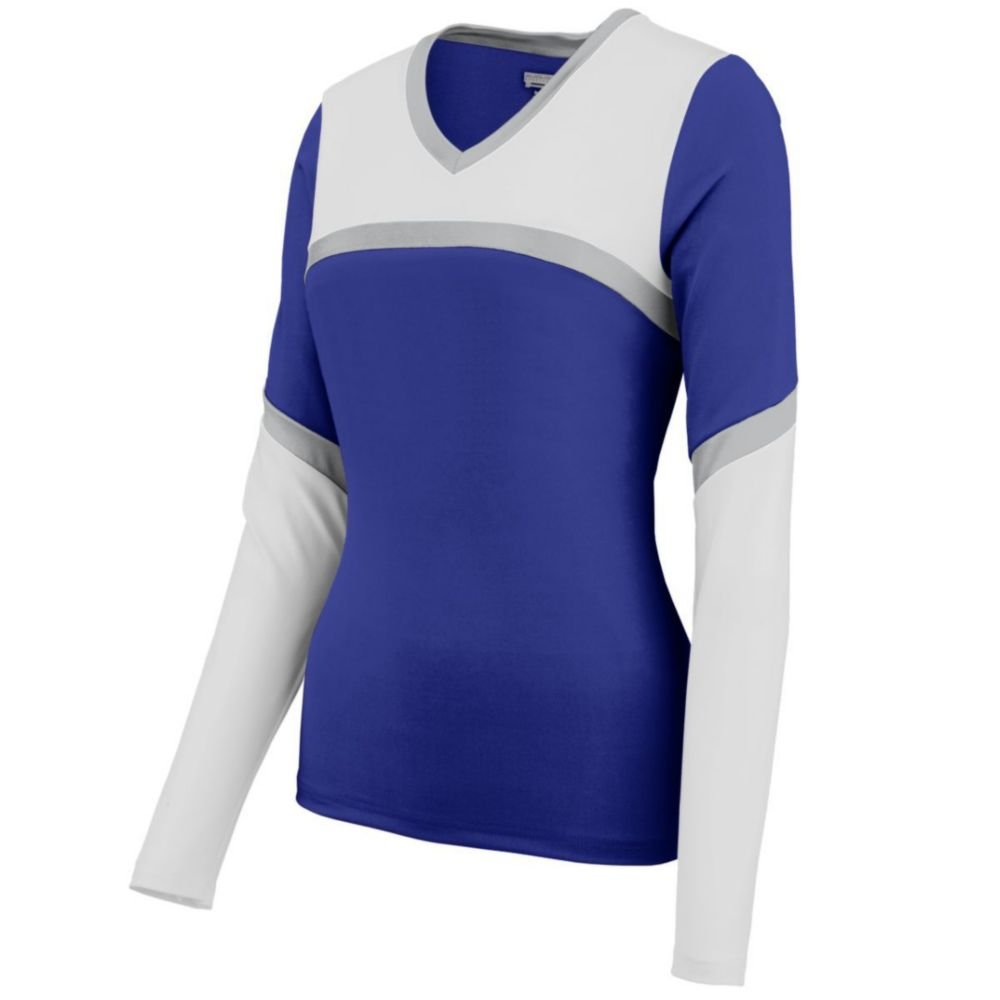 Augusta Sports Girls Rise Up Shell, Purple/White/Metallic Silver, Small