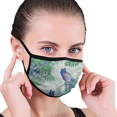 Funny Mouth Cover Dustproof Washable Reusable Vintage Peacock Palm Leaf Great Respirator Protective Safety Warm Windproof for Women Men
