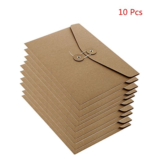 Funnylive 10 Pcs;A4 Kraft Paper Project Envelope with Expandable Gusset File Bags Office Supplies File Folders Project Pockets (Horizontal version) Colored Gussets