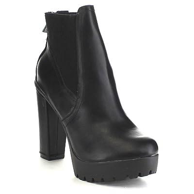 Breckelle's Hanna-11 Women's Platform Chunky Heel Lug Sole Chelsea Ankle Booties | Ankle & Bootie