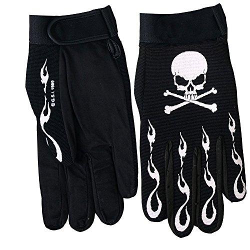 Textile Motorcycle Mechanic Gloves Skull & Crossbones w/ Flames Large