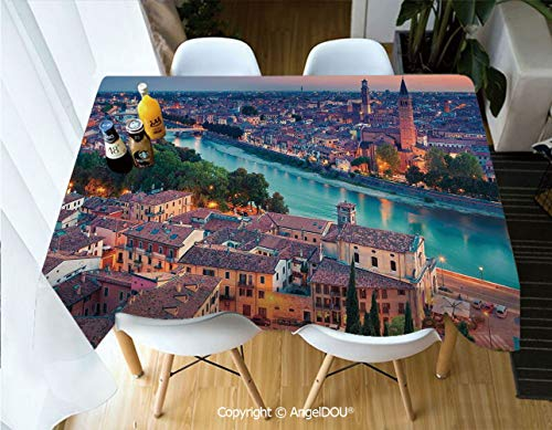 (AngelDOU Rectangle Printed Waterproof Tablecloth Verona Italy During Summer Sunset Blue Hour Adige River Medieval Historcal for Home Kitchen Dining Room Picnic Party,W55xL55(inch))