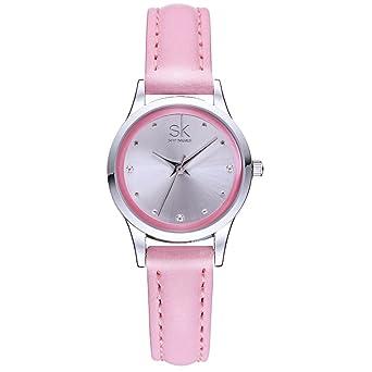 2fa3b40fb SK SHENGKE Ladies Watches Small Round Dial Quartz Watch Women Fashion  Leather Wristwatch Waterproof Crystal Diamond
