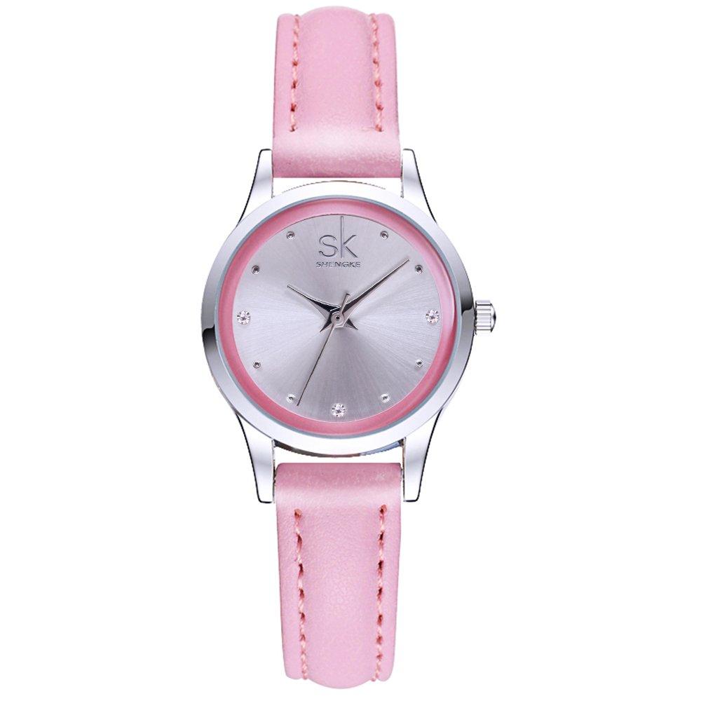 SK Woman Fashion Quartz Watch Elegant Diamond Wristwatch Girls Ultra-Thin Waterproof Wrist Watches for Gift(Pink)