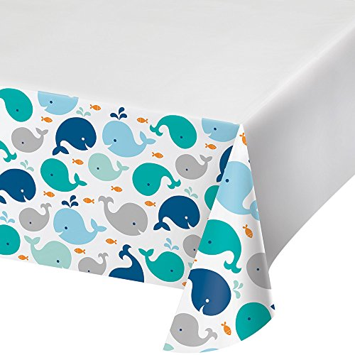 Creative Converting Border Print Plastic Tablecover, Lil' Spout Blue ()