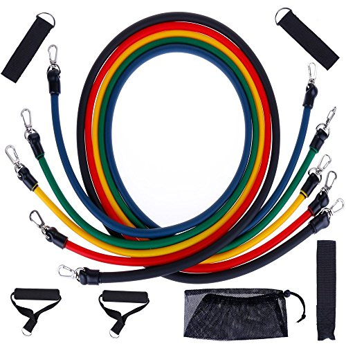 Anpro Resistance Bands Set Strength Bands- 5 Tube Set with Door Anchor, Handle, Ankle Straps and Carrying Bag for Home...