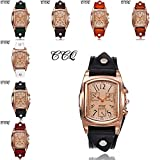 COOKI Retro Design Quartz Analog Lady Watches,Womens Watches,On Sale Clearance Female Watches Square Leather Wrist Watches for Women New-A130