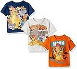 Disney Little Boys' Toddler Lion Guard 3 Pack T-Shirts, Orange/Navy/Gray, 3t