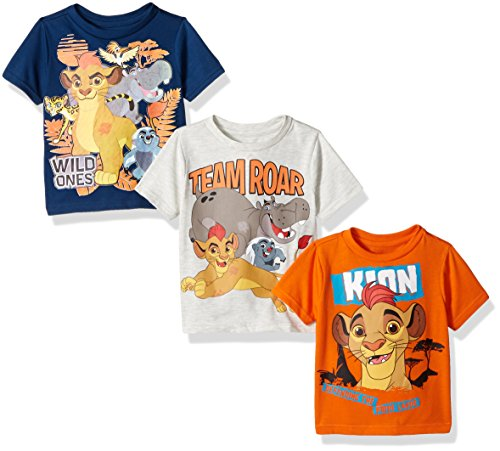 Price comparison product image Disney Little Boys' Toddler Lion Guard 3 Pack T-Shirts,  Orange / Navy / Gray,  5T