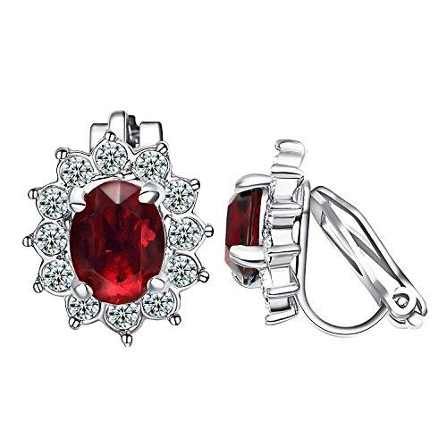 Yoursfs Clip Earrings For Women Flower Shape Fashion Crystal Non Pierced Earrings (Red Clip Earrings)