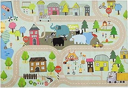 Vivense Style 1003 Traffic /& Town Theme Large Carpet 160 x 230 cm Kids Room Rug
