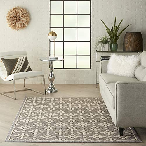 Amazon Com Nourison Palamos Indoor Outdoor Grey 5 X 7 Area Rug 5 3 X 7 3 Furniture Decor