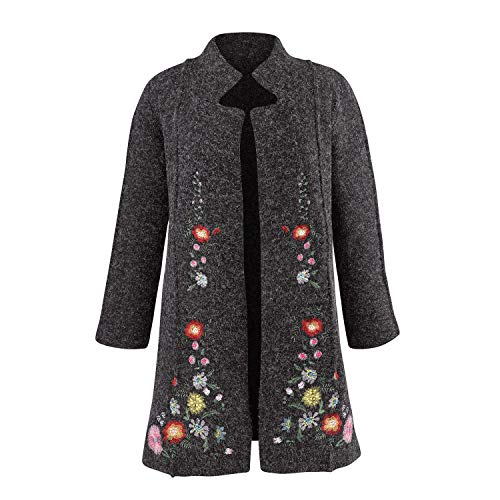 Rising International Women's Heidi Sweater Coat - Embroidered Floral Jacket - Small ()