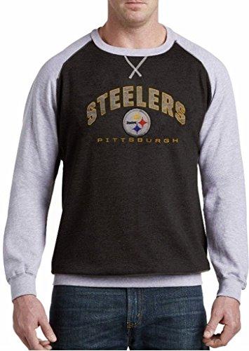 (Majestic Pittsburgh Steelers NFL Mens Raglan Fleece Crew Sweatshirt Big & Tall Sizes (3XL))