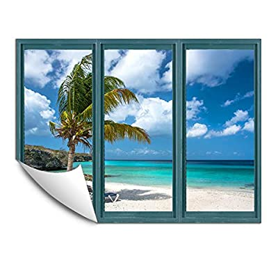 Wall Murals for Bedroom Fake Window Beach Blue...36