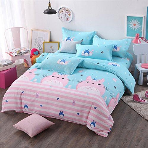 Kids/Adult Bedding Sets Without Comforter 4pcs/Set Bedsheet Duvet Cover Pillow Cases Twin Full Queen Size HM God Deer Design (Queen, Totoro Cat)