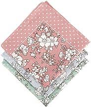 zhoushengmeizhuang Women Handkerchief Cotton Handkerchief Floral Printed Elegant Hankies 3 Pieces 17.7x 17.7 i