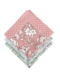 zhoushengmeizhuang Women Handkerchief Cotton Handkerchief Floral Printed Elegant Hankies 3 Pieces 17.7x 17.7 inch
