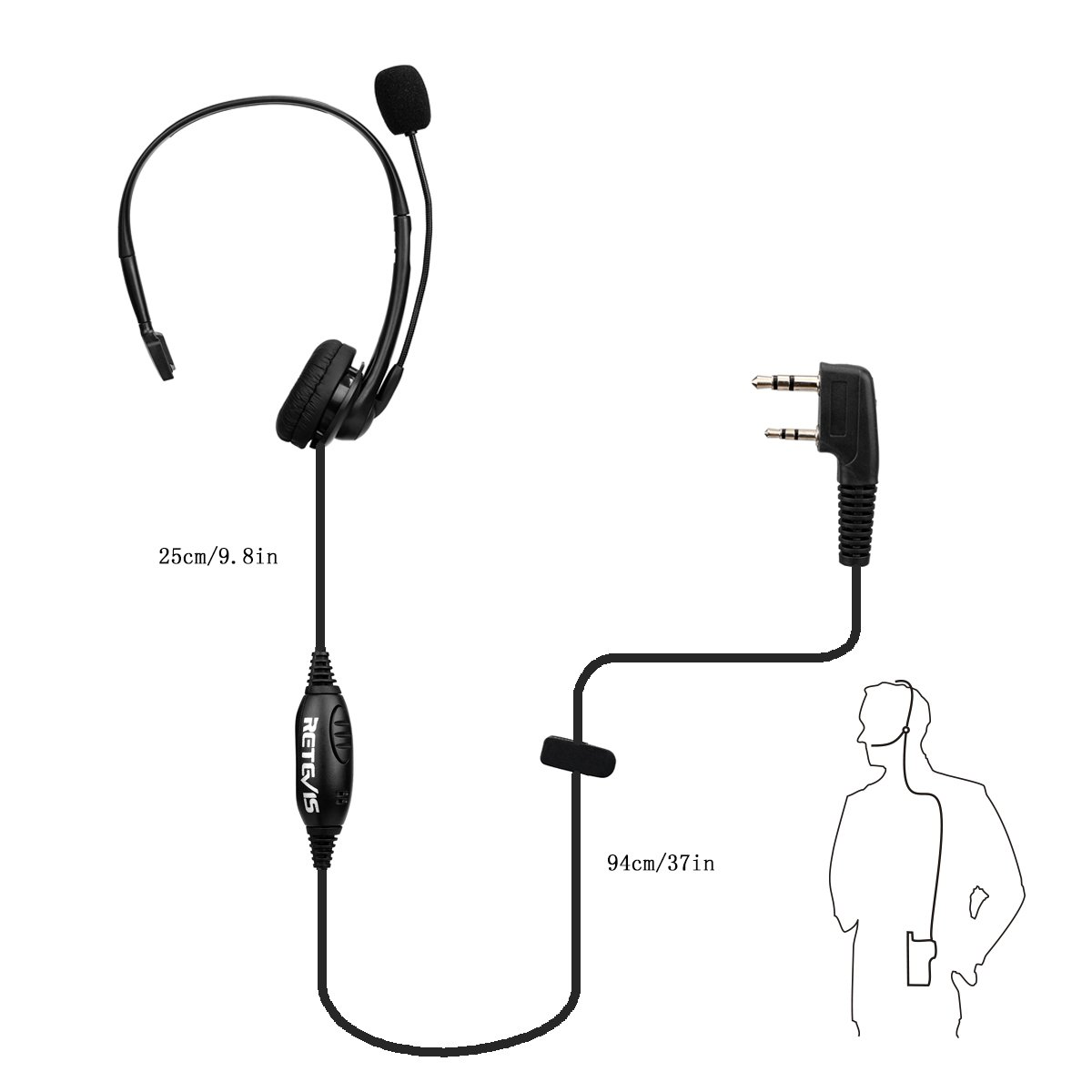 Retevis Walkie Talkie Earpiece Headset with Mic Noise Cancelling Headphone Overhead Headset for Kenwood H-777 RT21 RT22 RT27 H-777S Baofeng UV-5R BF-888s 2 Way Radio (1 Pack) by Retevis (Image #4)