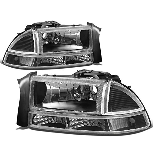 For Dakota/Durango 4pcs Black Housing Clear Corner Headlight+Bumper Lights Kit Replacement