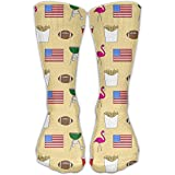 American Flags Alternating Pattern Women's Athletic Compression Socks Comfortable Unisex Anti-odor Running Long Sock Outdoor Antibacterial Athletic Sox Cute High Stockings