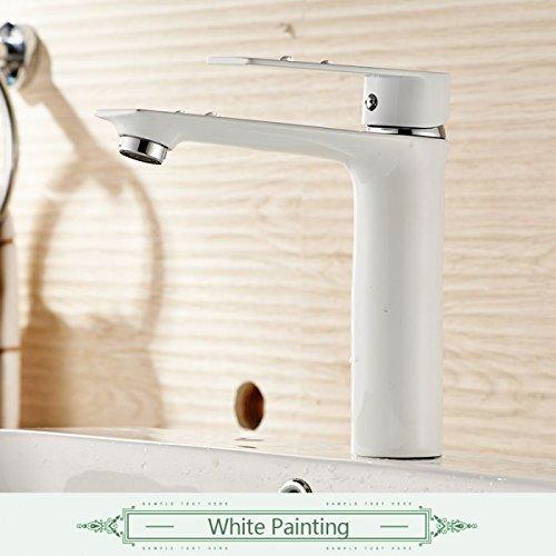 CZOOR Wasser Mixer Badezimmer Waschbecken Wasserhahn Messing Badezimmer Armaturen modernes Bad Armatur chrom & Schwarz & Weiß Waschbecken Mischbatterie, 3