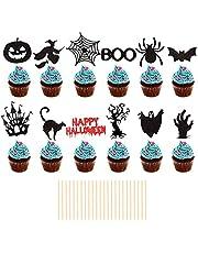 24 stuks Halloween Cupcake Toppers Zwarte Spider Vleermuis Pompoen Tandenstoker Vlag Fruit Picks Cupcake Decoratie Spooky Haunted House Cake Picks Decoratie voor Halloween Thema Feestbenodigdheden
