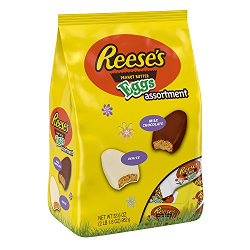 REESE'S Peanut Butter Easter Egg Assortment, Milk Chocolate & White Crème Covered Peanut Butter Egg Shaped Candy in Easter Packaging, 33.6 Ounce - Peanut Easter Butter Chocolate White
