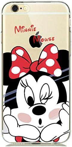 Noir Rouge Clair Mignon Minnie Mouse En Silicone Souple Iphone 8 Plus Coque Dessin Anime Iphone Coque Fin Transparente Minnie Mickey Imprime Lovely Couleurs Froides Resistant A La Salete Aux Chocs Pour