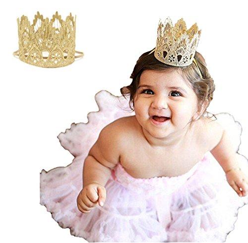 Floral Fall Baby and Mother Vintage Photo Prop Princess Gold Lace Crown Elastic Headbands BY-08 (Baby Girls, Mini Crown)